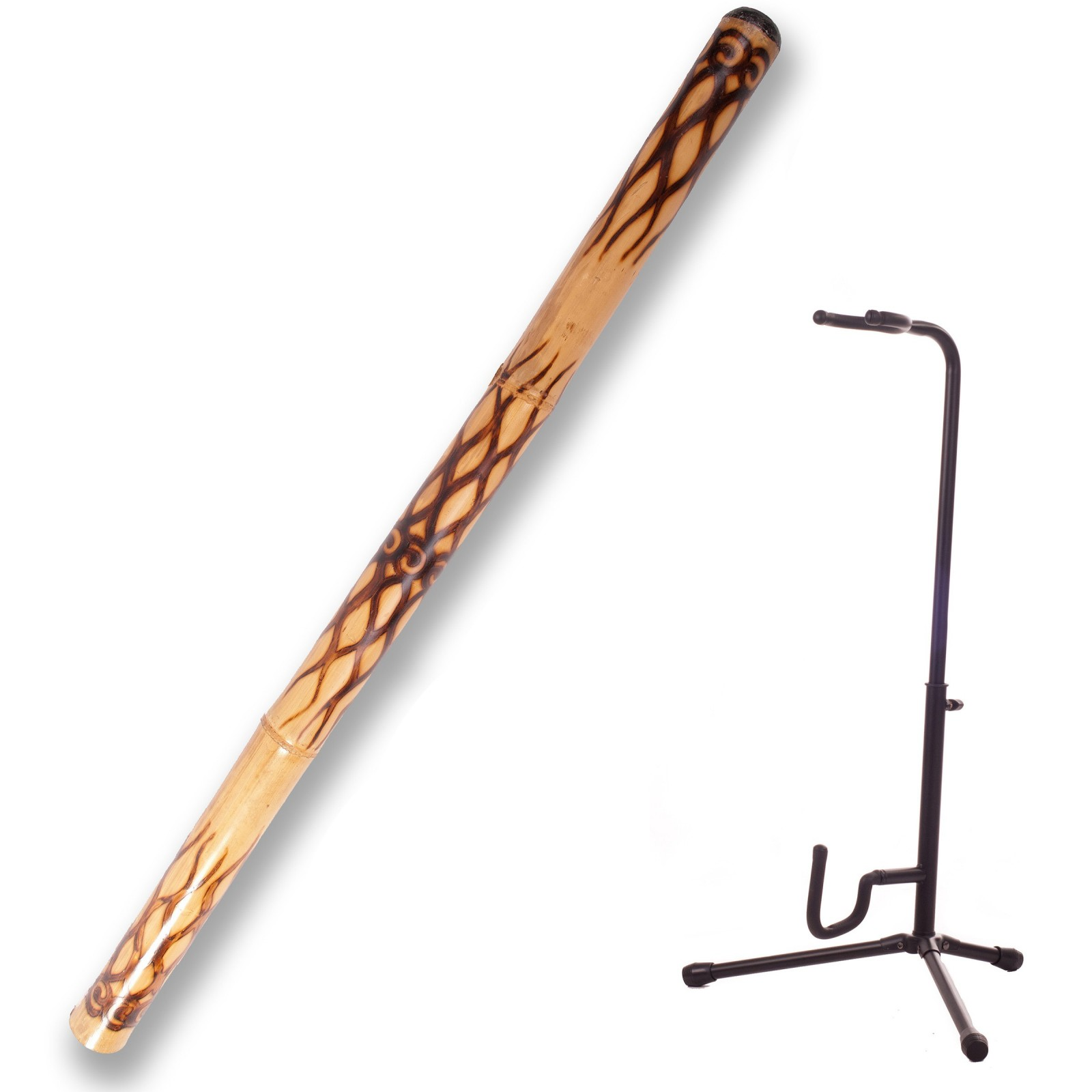 Didgeridoo ''flamed'' + Didgeridoo Display Stand