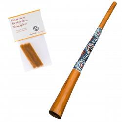 Didgeridoo für Anfänger - Holz - Dotpaining - inklusive Bienenwachs