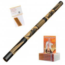 Didgeridoo Starterpack '' taillé '' + cire d'abeille + DVD