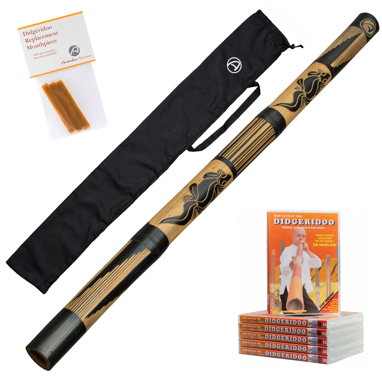 Didgeridoo 120cm - bambou - didgeridoo pour débutants - sac - cire d'abeille et DVD pour jouer le didgeridoo