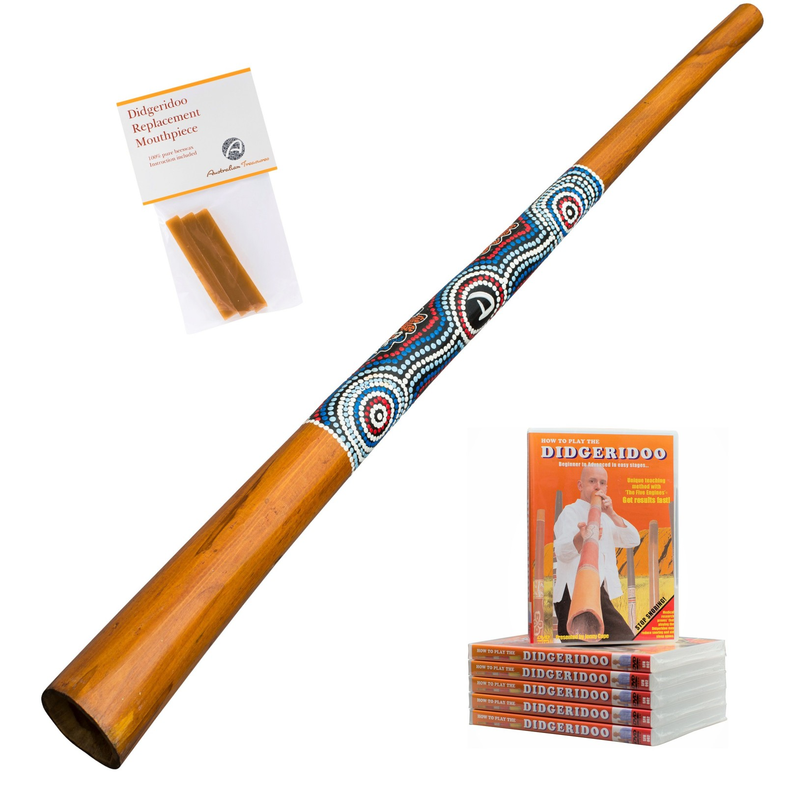 Australian Treasures Didgeridoo ''Natural'' + Bienenwachs + DVD