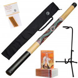 Starter Pack Australian Treasures Bamboo Didgeridoo (natural) + Bag + DvD + Beeswax + Didgeridoostand