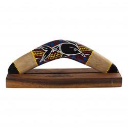 Boomerang 11.8'' - handmade - wood -  Dolpin painting -  hardwood displaystand - boomerang for kids