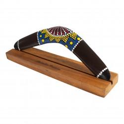 BOOMERANG: Boomerang en bois fabriqué à la main, 40 cm, y compris support pour boomerang en bois dur. Boomerang Style Aborigène