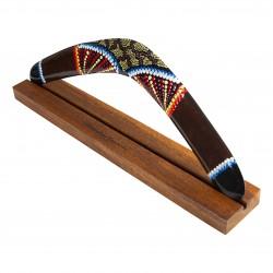 BOOMERANG: Boomerang en bois fait main de 50 cm, comprenant un support boomerang en bois massif.