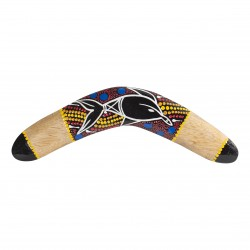 Handcrafted boomerang 11.8'' -  Dolpin - handpainted - wood - boomerang for kids