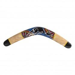 Trä bumerang - storlek XL 50cm - känguru målning - dotpainting - bumerang