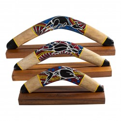 Australian Treasures boomerang set 3x boomerang including hardwood boomerangstands