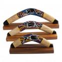 Australian Treasures boomerang 50cm (19.6'') wood kangaroo including hardwood boomerangstand