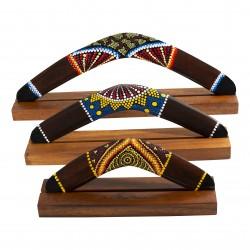 Australian Treasures boomerang set 3x boomerang brown/ dotpaintings including hardwood boomerangstands