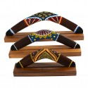 Australian Treasures boomerang set 3x boomerang brown/ dotpaintings including hardwood boomerangstands
