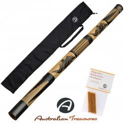 DIDGERIDOO CARVED: bambu didgeridoo incluyendo cera de abejas y bolsa de didgeridoo
