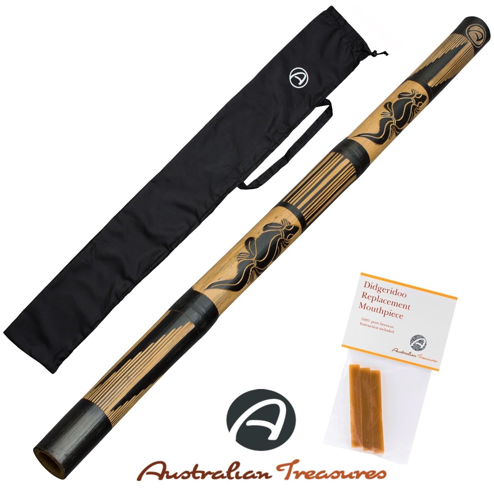 DIDGERIDOO CARVED: didgeridoo en bambou comprenant 3 bandes de cire d'abeille et sac de didgeridoo en nylon