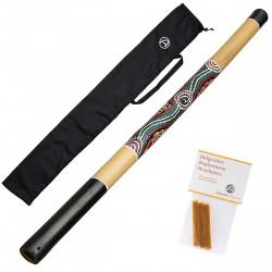 """Bamboo didgeridoo """"natural'' längd 120cm - inklusive bivax för munstycke didgeridoo och nylon väska - Didgeridoo för nybörjare"""