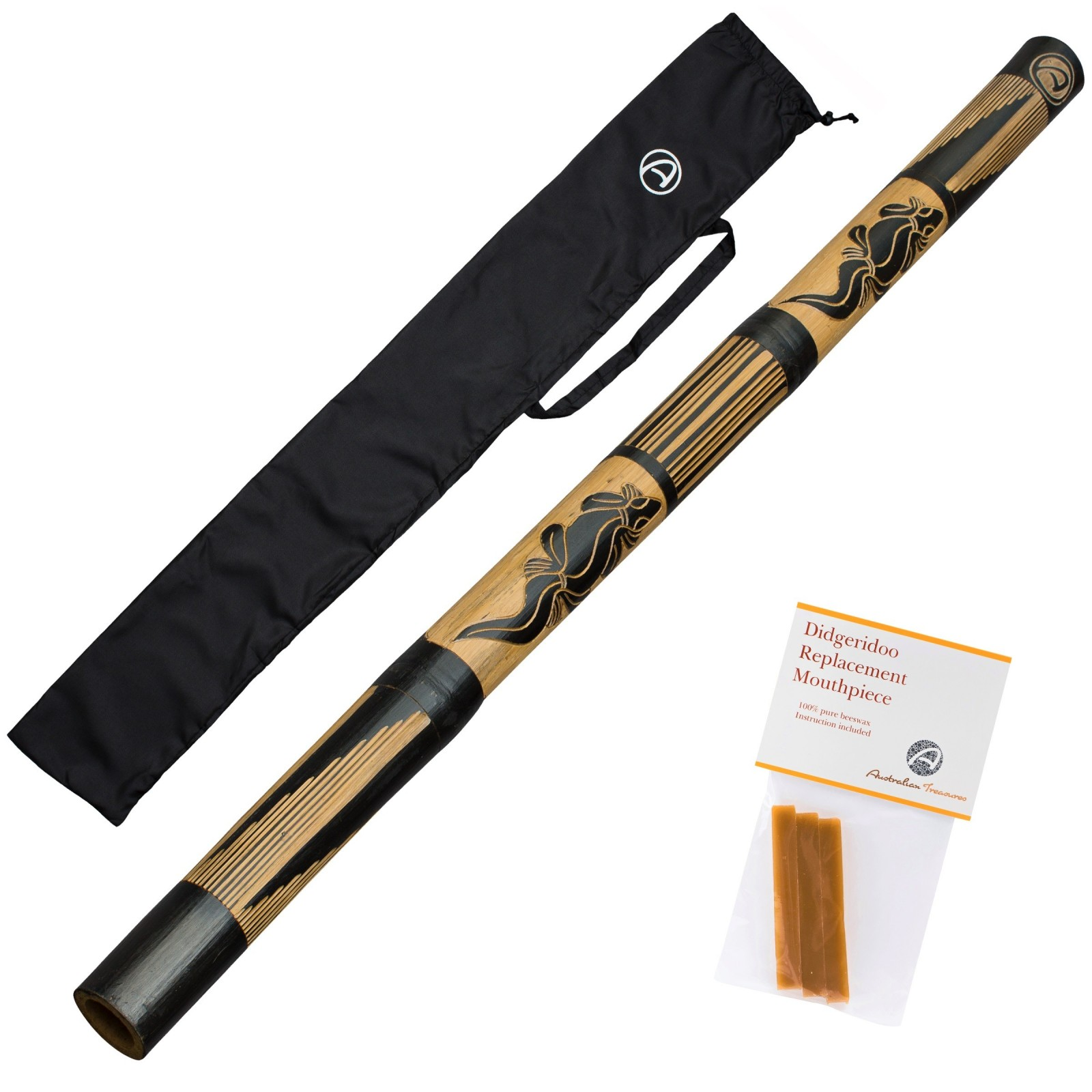 DIDGERIDOO CARVED: didgeridoo en bambou comprenant 3 bandes de cire d'abeille et un sac de didgeridoo en nylon