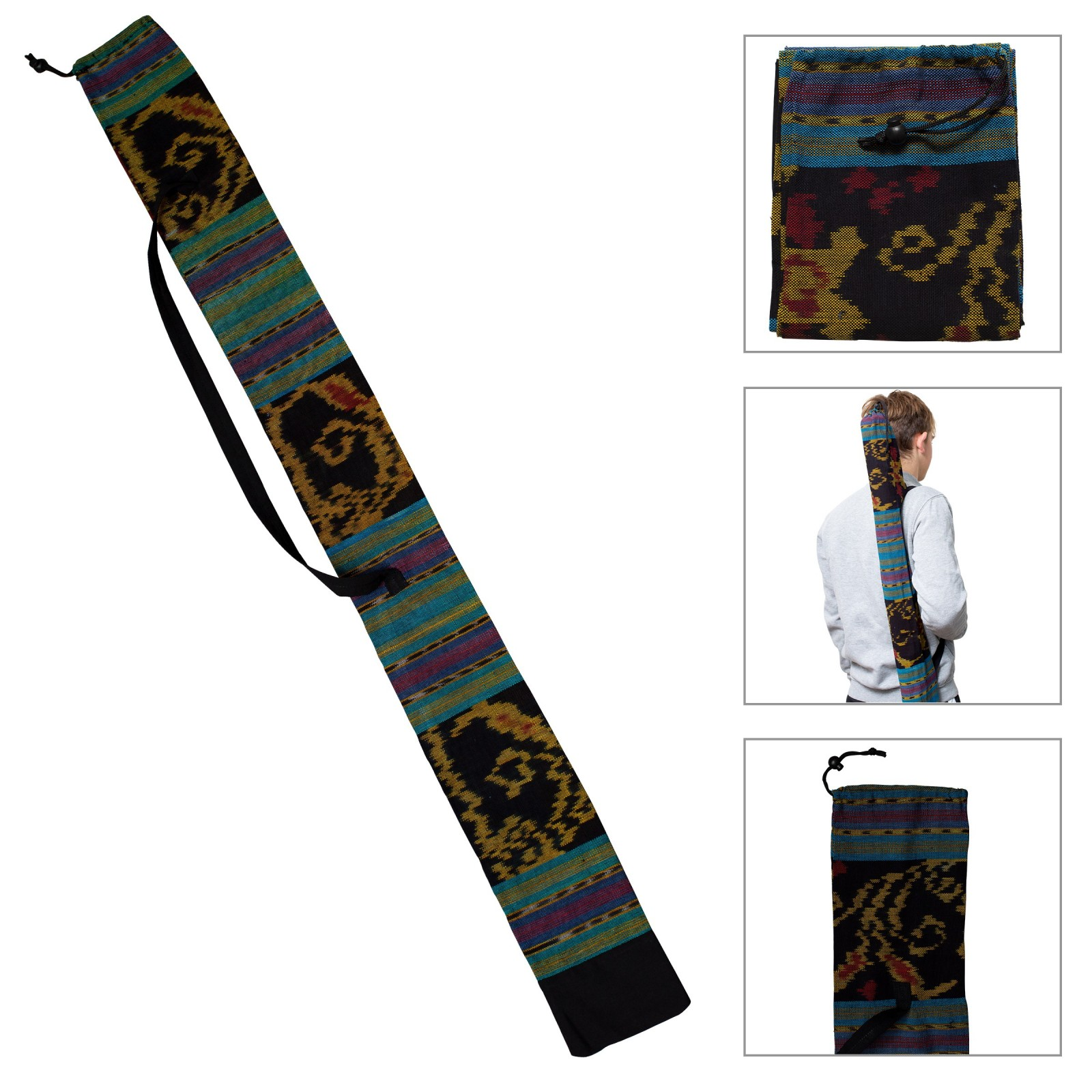 BOLSO DIDGERIDOO 125 cm - Bolso Didgeridoo de tela Ikat. Diámetro Ø 8 cm. Incluyendo correa de transporte