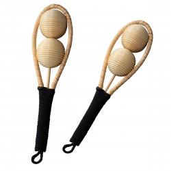 Ensemble de shaker en bambou - percussion à main - instrument de musique pour enfants - léger - 26cm