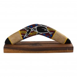 Boomerang 11.8'' - handmade - wood -  Dolpin painting -  hardwood displaystand - boomerang for kids