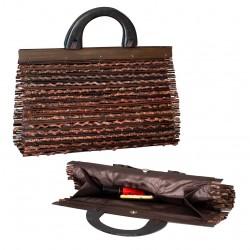 Borsetta da donna. Borsetta fatta a mano in bambù e legno. Elegante, leggero e compatto. 35 x 21 x 12cm