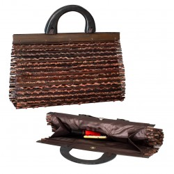 Ladies handbag. Handmade handbag made of bamboo and wood. Stylish, lightweight and compact