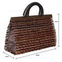 Dames handtas. Handgemaakte handtas van bamboo en hout. Stijlvol, lichtgwicht en compact. 35 x 21 x 12cm